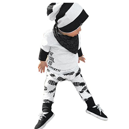 EKIMI Baby Boy Girl Long Sleeve Letter T-shirt+Pants Outfits Clothes Set (9M)