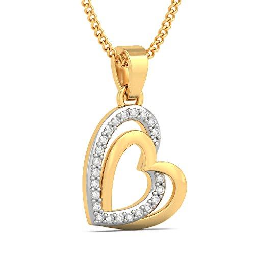 18K Or jaune 0.12CT TW Round-cut-diamond (IJ | SI) Pendentif