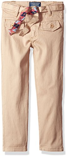 Cherokee Girls' Big' Uniform Stretch Twill Pant with Belt and Flap Pocket, Khaki, 12