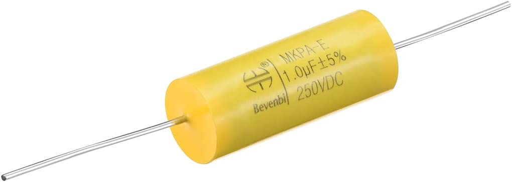 uxcell Film Capacitor 250V DC 4.0uF Round Axial Polypropylene Film Capacitor for Audio Divider Yellow