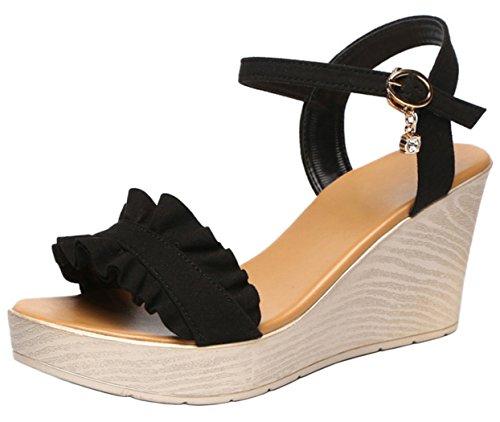 DADAWEN Women's Open Toe Ankle Strap Wedge Heel Sandals Black