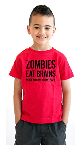 Youth Zombies Eat Brains Shirt Funny Zombie T shirts Living Dead Zombie Outbreak Tees (Red) S