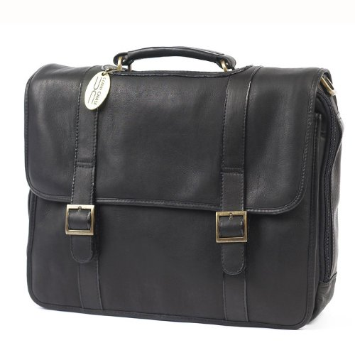 Porthole Leather Laptop Briefcase Color: Cafe