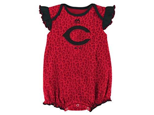 Majestic Athletic Cincinnati Reds Girl's Romper Infant Size 0-3 Months Onesie/Bodysuit - Ruffled Sleeves Red ()