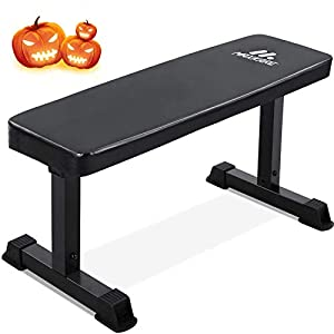"""MaxKare Flat Weight Bench 600 LBS Capacity 42×18.5×19"""" Workout Exercise Fitness Bench Thick Backrest Cushion for Home Gym Strength Training"""