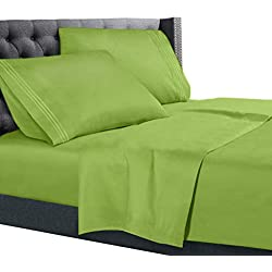 Full Size Bed Sheets Set Garden Green, Bedding Sheets Set on Amazon, 4-Piece Bed Set, Deep Pockets Fitted Sheet, 100% Luxury Soft Microfiber, Hypoallergenic, Cool & Breathable