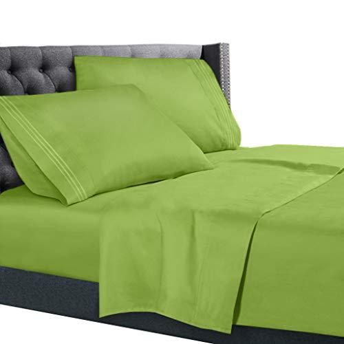 Nestl Bedding 4 Piece Sheet Set - 1800 Deep Pocket Bed Sheet Set - Hotel Luxury Double Brushed Microfiber Sheets - Deep Pocket Fitted Sheet, Flat Sheet, Pillow Cases, Cal King - Garden Green from Nestl Bedding