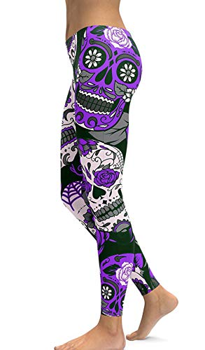 - sissycos Women's Retro Printed Sugar Skull Pattern Ankle Length Elastic Tights Leggings (Medium, Purple)