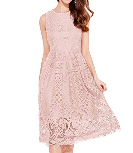 VEIIASR Womens Fashion Sleeveless Lace Fit Flare Elegant Cocktail Party Dress (Medium, Pink)