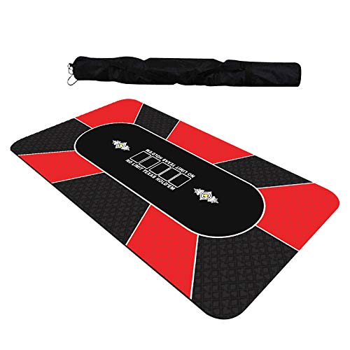 GAMELAND 35 x 70 Inch Portable Rubber Foam Poker Table Top Layout Poker Mat