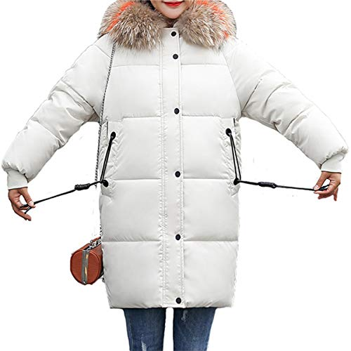 Di Warm Outwear Bianco Women Jacket Down Long Colore Solido In Pelliccia Cappotto Blackmyth Winter Parka wpUq8