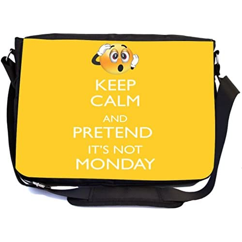 Rikki Knight Keep Calm and Pretend It's not Monday Yellow Color Design Multifunctional Messenger Bag - School Bag - Laptop Bag - Includes Matching Compact Mirror