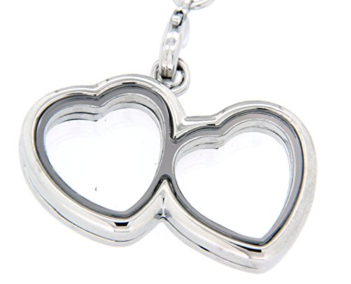 Clearly Charming Small Double Heart Locket Necklace Base for Floating Charms with Bamboo Chain ()