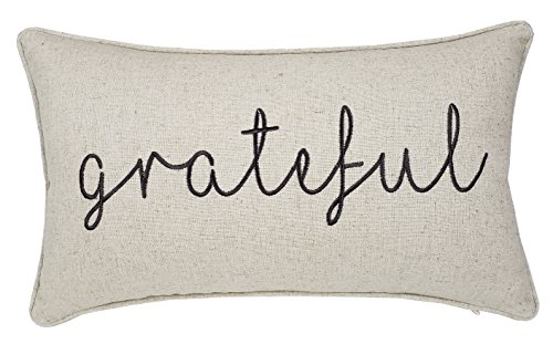 Trivenee Tex Pillowcase Embroidered Blessed Thankful Grateful Decorative Lumbar Throw Pillow Cover Gift for Christmas New Home Farmhouse Home Decor (Grateful(Natural), 12X20)