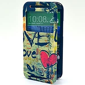 Retro Love Word Pattern PU Leather Hard and Practical Case with Card Slot and Openning Window for One 2 M8