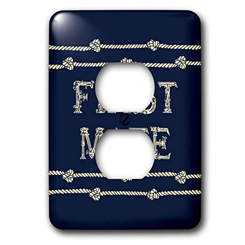 3dRose Russ Billington Nautical Designs - Knotted Rope and Text First Mate in Ivory over Navy Blue - Light Switch Covers - 2 plug outlet cover (lsp_291574_6)