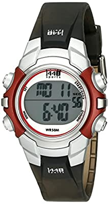 Timex Unisex T5G841 1440 Sports Digital Silver-Tone/Black Resin Strap Watch