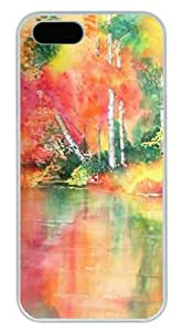 Autumn Reflections in Watercolor DIY Hard Shell White iphone 5/5s Case Perfect By Custom Service hjbrhga1544