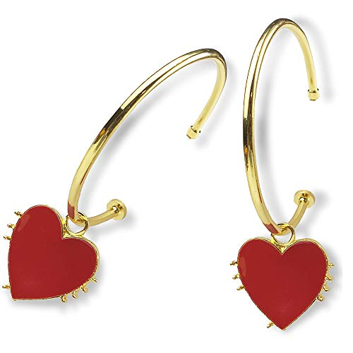 Thick Gold Hoop Earrings for Women - 1 Pairs 14K Gold Plated Hoop Earrings with Red Heart, Great for Party, Shopping, Dating and Daily Wear (Hoop size - Heart Gold Earrings Red