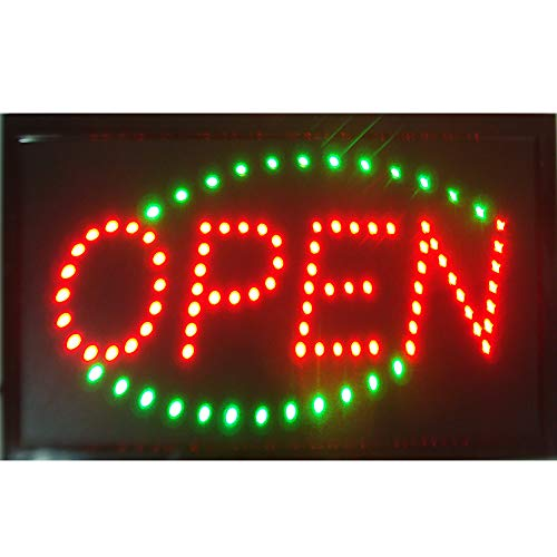 (Led Open Sign for Business - Neon Open Sign Animated Led Signage Billboard - Open Business Led Sign Red Green Color- Grate for Coffee, Bar, Pizza, Ice Cream Store, Shop,)