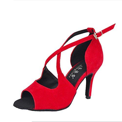 Tacón Mujer Baile Heel 38 de de Salsa Zapatos Zapatos para amp; Salón para Black Color UN Zapatos Party Un Tamaño Stilettos Sandal Evening XUE Latinos Red Alto 7zqOIO