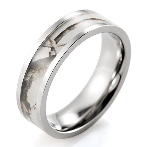 SHARDON Women's 6mm Titanium Wedding Band with White Tree Camouflage Inlay Size 8