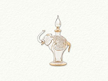 7b3e2e33 Image Unavailable. Image not available for. Color: Clear and Gold Elephant  Egyptian Blown Glass Perfume Bottle