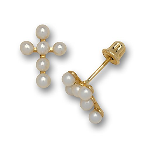 Jewelryweb Solid 14k Yellow Gold Small Freshwater Cultured Pearl Cross Stud Screw-back Earrings (7mmx10mm)