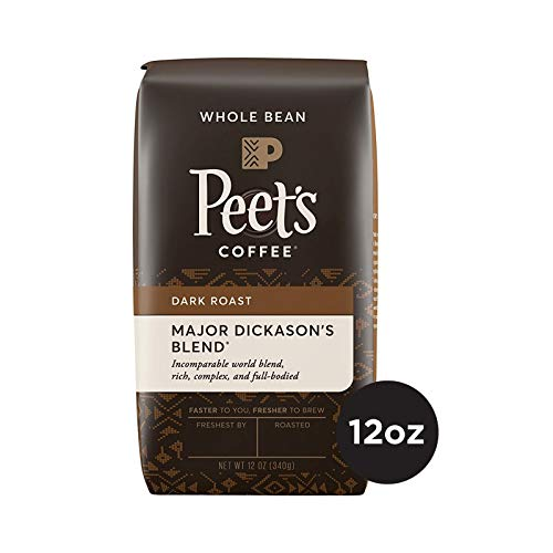 Peet's Coffee Major Dickason's Blend, Dark Roast Whole Bean Coffee, 12 Ounce Bag, Direct Trade Coffee -