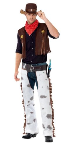 [Smiffy's Men's Cowboy Costume, Waistcoat, Chaps, Scarf and Hat, Western, Serious Fun, Size L, 20471] (Adult Cowboy Costumes)