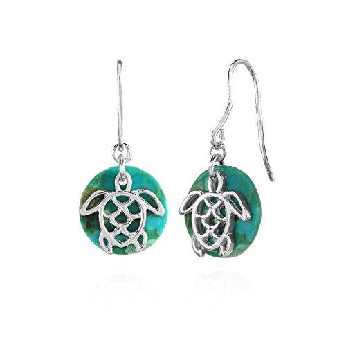 Sterling Silver Simulated Turquoise Round Filigree Polished Turtle Dangle Earrings (Turquoise Turtle Earrings Sterling Silver)