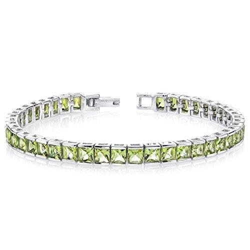 16.00 Carats Peridot Tennis Bracelet Sterling Silver Princess Cut (Brilliant Cut Princess Bracelet)