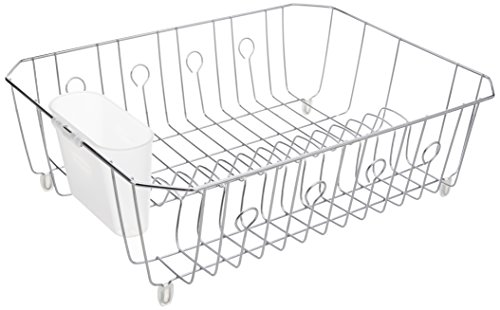 Rubbermaid AntiMicrobial In-Sink Dish Drainer With Silverware Cup, Chrome, Large (FG6032ARCHROM)