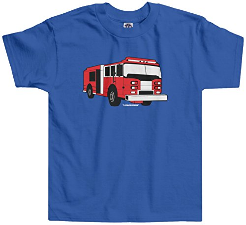 Shirts Fireman Tee (Threadrock Little Boys' Fire Truck Toddler T-shirt 3T Royal Blue)