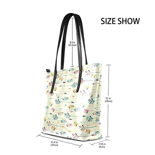 COOSUN Feder Pfeil Muster PU Leder Schultertasche Handtasche und Handtaschen Tasche für Frauen