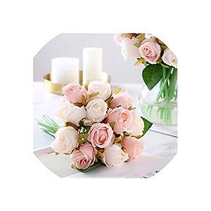 12Pcs Artificial Rose Bouquet Decorative Silk Flowers for Wedding Home Party 73