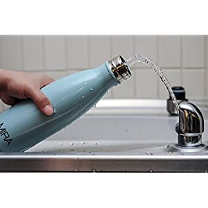 MIRA 17 Oz Stainless Steel Vacuum Insulated Water Bottle | Leak-proof Double Walled Cola Shape Bottle | Keeps Drinks Cold for 24 hours & Hot for 12 hours | 17 Oz (500 ml) (Light Blue)