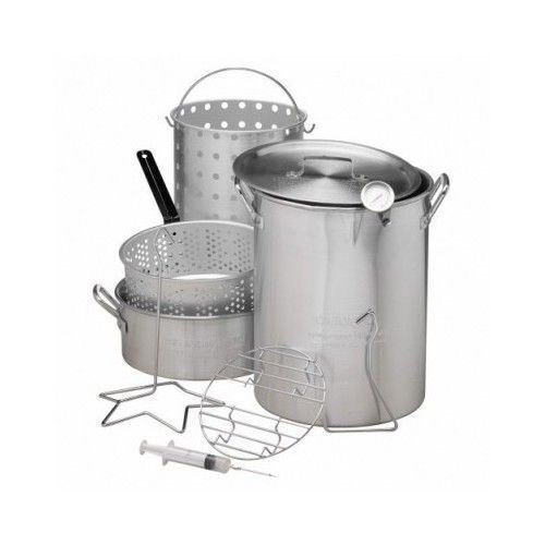 30 QT Deep Turkey Fryer Pot Kit Wings Fish Baskets Outdoor Propane Stockpot NEW