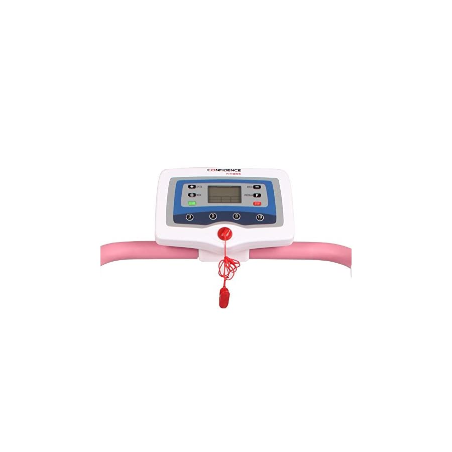 Confidence Power Trac Pro 735W Motorized Electric Folding Treadmill Running Machine Pink with 3 Manual Incline Settings