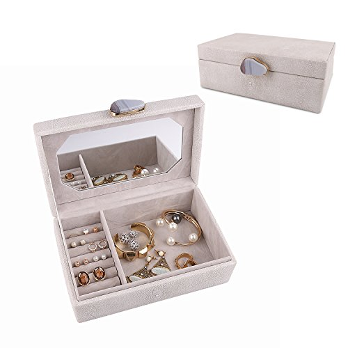A Comely Jewelry Box Accessories Storage Organizer Case, Shagreen Leather, Delicate Agate Handle Design with Mirror (Grey)