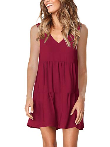 Amoretu Womens Summer Tank Dresses V Neck Sleeveless Tank Sundress Burgundy L (Sundress Sleeveless Dress)
