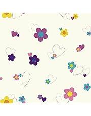 York Wallcoverings Walt Disney Kids II Flower and Hearts Wallpaper Memo Sample, 8-Inch x 10-Inch, White/Pinks/Purple/Yellow/Teal