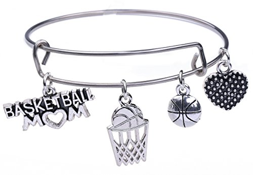 TEAMER Stainless Steel Adjustable Wire Bangle Basketball Mom Charm Bracelet Women Jewelry Gift ()