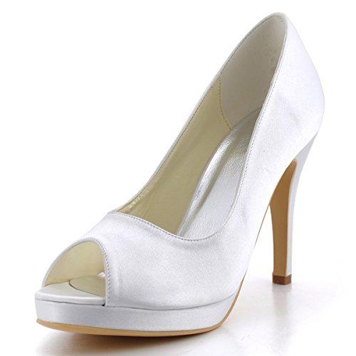 Elegantpark EP2098-PF-W White Women's Peep Toe Pumps Stiletto High Heel Platform Satin Bride Wedding Pumps US 6