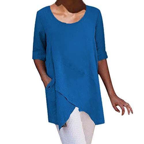Summer Tops for Women 2019 Cross Design Half Sleeve Cotton Linen t-Shirt Casual Blouse