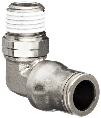 Plated Brass Swivel (Legris 3209 60 11 Nickel-Plated Brass Push-to-Connect Fitting, 90 Degree Elbow, Swivel, 3/8