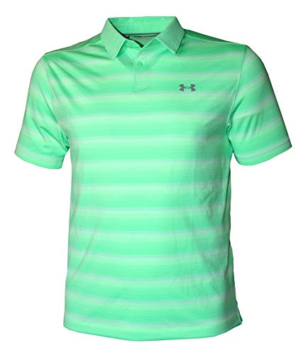 Under Armour Men's Polo Heat Gear Striped Golf Shirt (X-Large) Green