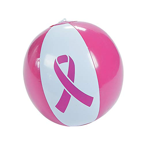 "Fun Express - Pink Ribbon Beach Ball 11"" - Toys - Inflates - Beach Balls - 12 Pieces"
