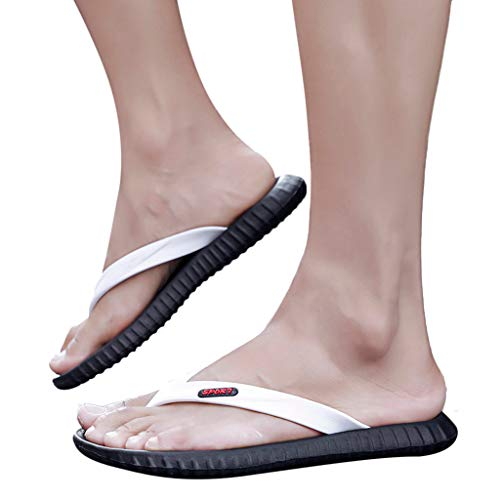 OutTop(TM) Men's Flats Flip-Flops Casual Personality Durable Non-Slip Antiskid Slippers Beach Shoes (US:9.5, White)
