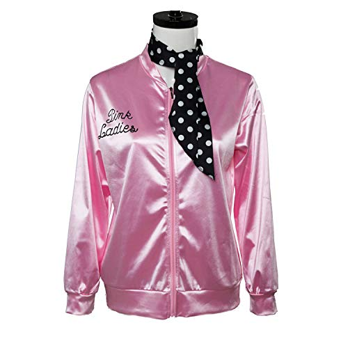 Fancycloth 50S Grease T-Bird Danny Pink Ladies Satin Jacket Costume with Polka Dot Scarf -
